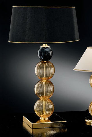 Modern Murano glass table light with black and amber spheres