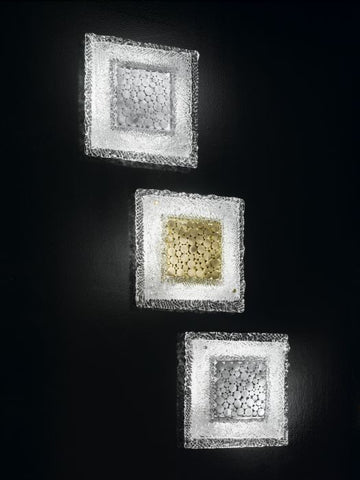Murano Glass Wall/Ceiling Light with Metal Detailing