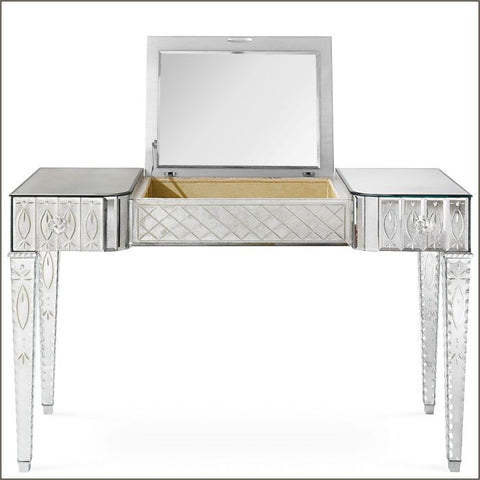 Glamorous engraved Venetian  mirrored dressing table