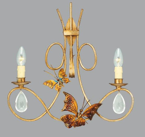 Gold Metal Wall Light with Butterflies and Glass Crystals