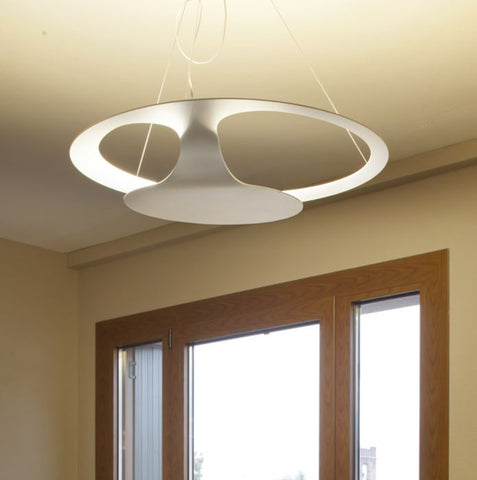 Glu F31 A03 white modern metal ceiling pendant from Fabbian