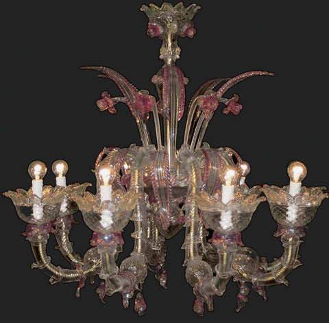 Gold and pink 8 arm Murano Chandelier