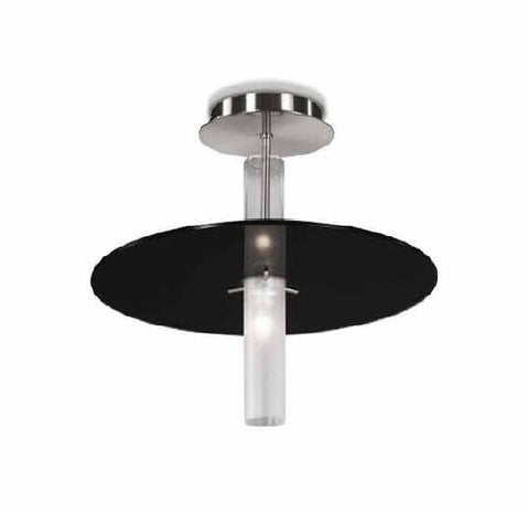 Black, red or white glass disc ceiling light with nickel frame