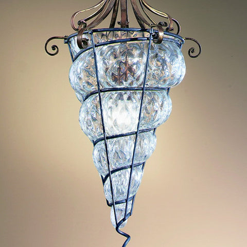 Traditional blown glass and brass ceiling lantern