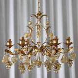 Murano crystal and gold glass grape chandelier with gold frame