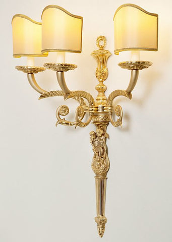 Cherub' wall sconce from Italy with three silk shades