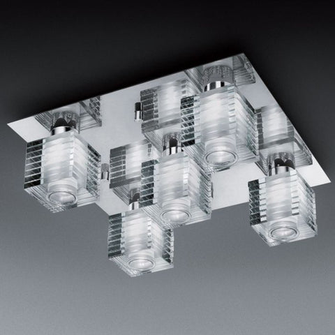 Angular Murano glass flush light with chrome frame