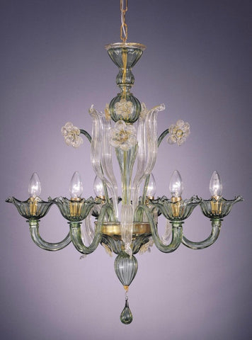 Murano crystal and green glass chandelier