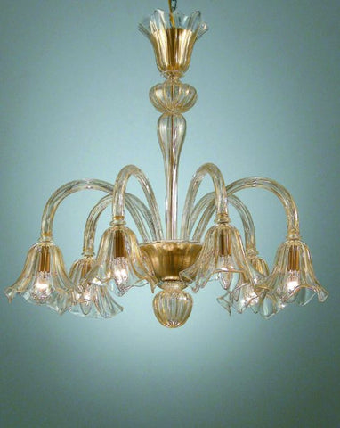 Gold and crystal Murano glass chandelier
