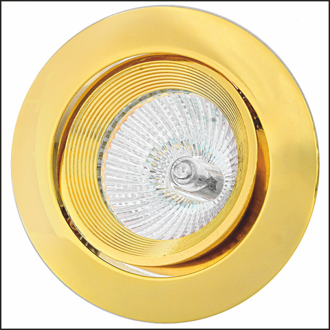 Gold metal recessed swivel spotlight