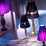 Modern ceramic black and gold table lamp with purple voile shade