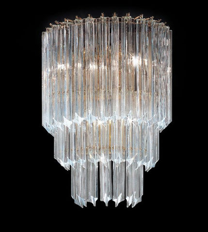 Wall light with four-sided Murano glass or crystal prisms