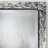 Large engraved art deco mirror with silver frame