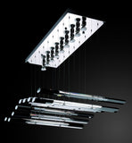 Piano Style Optical Crystal Glass Chrome Ceiling Pendant