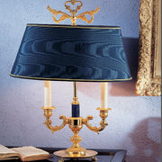 Classic Italian table lamp with blue enamel part and shade