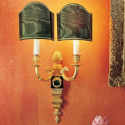 Malachite gold & marble wall light with Venetian style shades