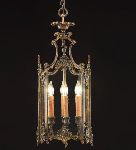 70 cm brass oxide lantern with 4 lights