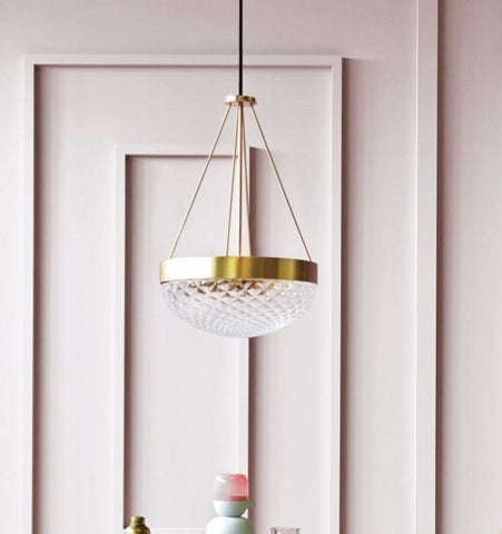 Brass or black hanging light with Murano balloton glass diffuser