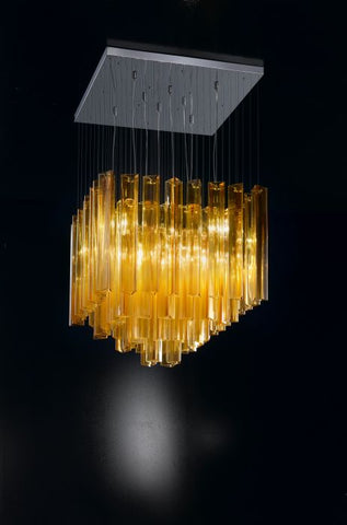 Stylish modern amber Murano glass ceiling light