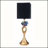 Gold table lamp with colourful Swarovski Elements crystals