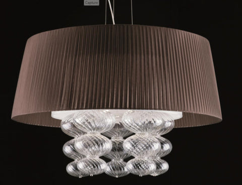 Modern Organza Shade and Clear Murano Light