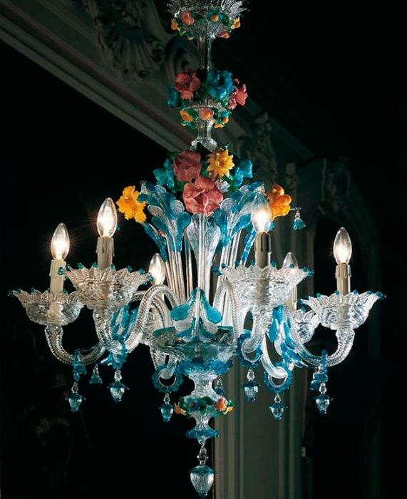 Murano blue glass chandelier | Blue chandelier, Murano glass
