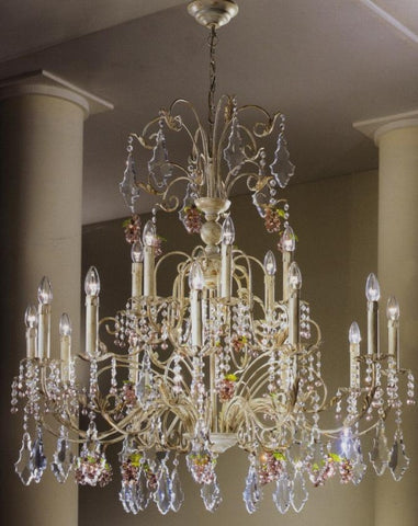 Large 18 light Murano glass fruit and crystal pendant chandelier