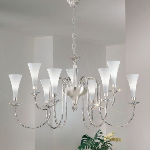 Silver-plated chandelier with Austrian crystal bobeches