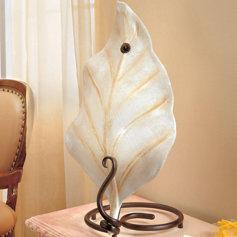 'Orione' large table light with white glass leaf diffuser