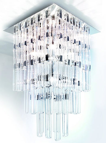Modern tall Milady ceiling light with 144 glass lozenges