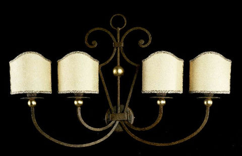 Bronze wall light with 4 cream shades