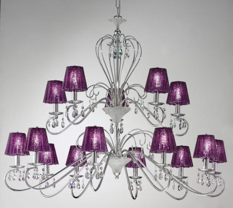 Chandelier with purple glass shades and Swarovski crystals