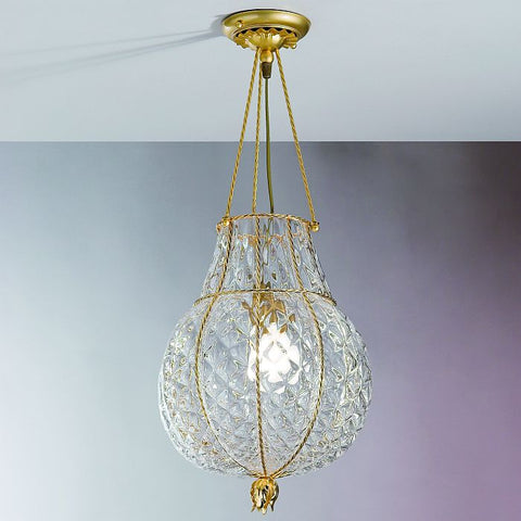 Clear Murano crystal and gold ceiling light
