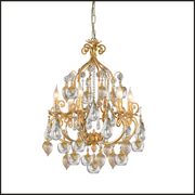 White gold chandelier with Murano glass fruits