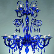 Large cobalt blue 12 arm Murano glass chandelier