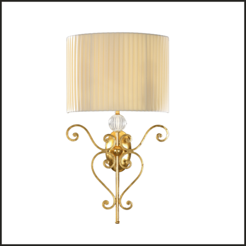 Gold iron sconce with pleated shade