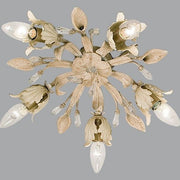5 Lamp Ceiling Light in Green & Cream with Glass Crystals
