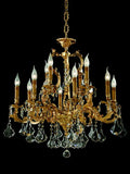Classic 12 light gold-plated chandelier with crystal pendants