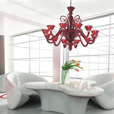 Red Murano glass two-light wall chandelier