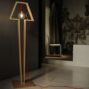 Modern Natural Birch and Coloured Silicon Cable Floor Light