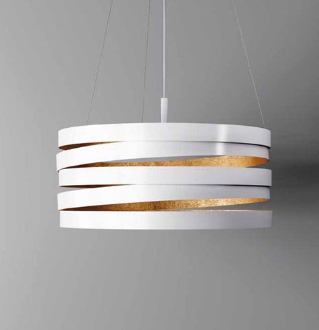 Metal pendant light with gold silver or copper leaf combinations