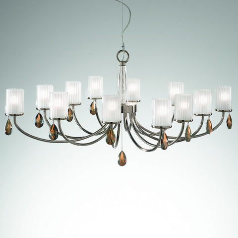 Metal & glass chandelier with Swarovski bronze pendants