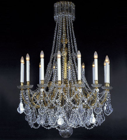16 Light French Gold Chandelier with Crystals