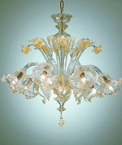Pastoral Venetian clear and gold glass chandelier