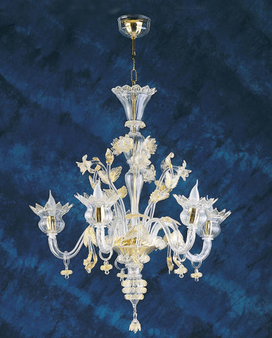 Golden Murano glass chandelier with droplets