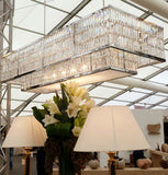 Luxurious rectangular lead crystal prism chandelier