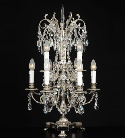 Large lead crystal table light with 9 lights