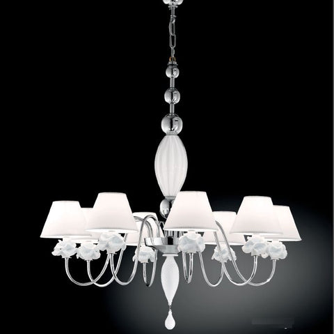 Chrome 8 light chandelier with milky white Murano glass flowers