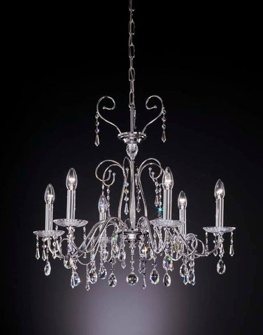 Six light contemporary chandelier - more colours available