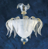 White Murano glass Ceiling Light with gold accents